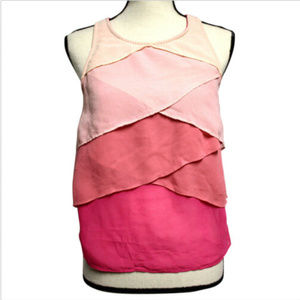 Double Zero Womens Small Tank Top Pink Layered